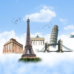 A set of European landmarks, such as the leaning tower of Pisa, Eiffel Tower, in the clouds next to an airplane and a hot air balloon. - moving to Europe with kids or not, try to visit them.
