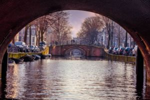 A canal in Amsterdam - one of the most kid-friendly cities in Europe.