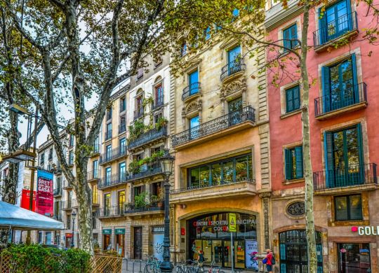 Colorful buildings in Barcelona.