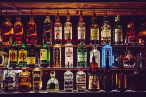 Different liquor bottles.
