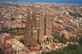 An aerial view of a city of Barcelona.