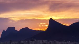 A sunset in the background. Moving to Brazil from Europe is a great experience.