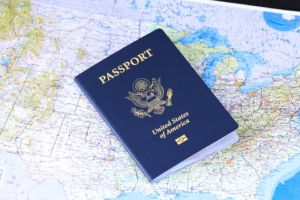A passport that you will need when moving from the UK to the USA.