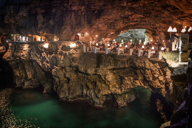 Image of the inside of the cave Grotta Palazzese in Polignano