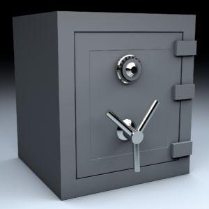 A grey safe.