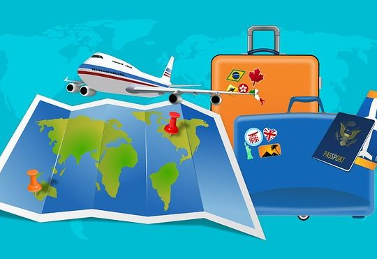 map, flight, suitcases