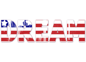 Dream USA flag - People who want to realize a life-long dream are one who moves the most in the US.