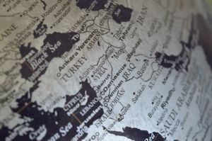 A globe focused on the Middle East