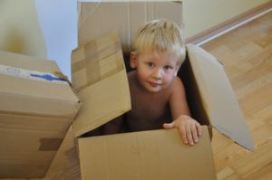 Toddle in a moving box