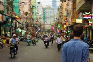 A street in an Asian city.