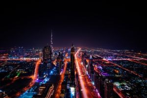 A view of Dubai at night.
