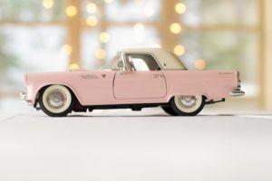 A pink car.