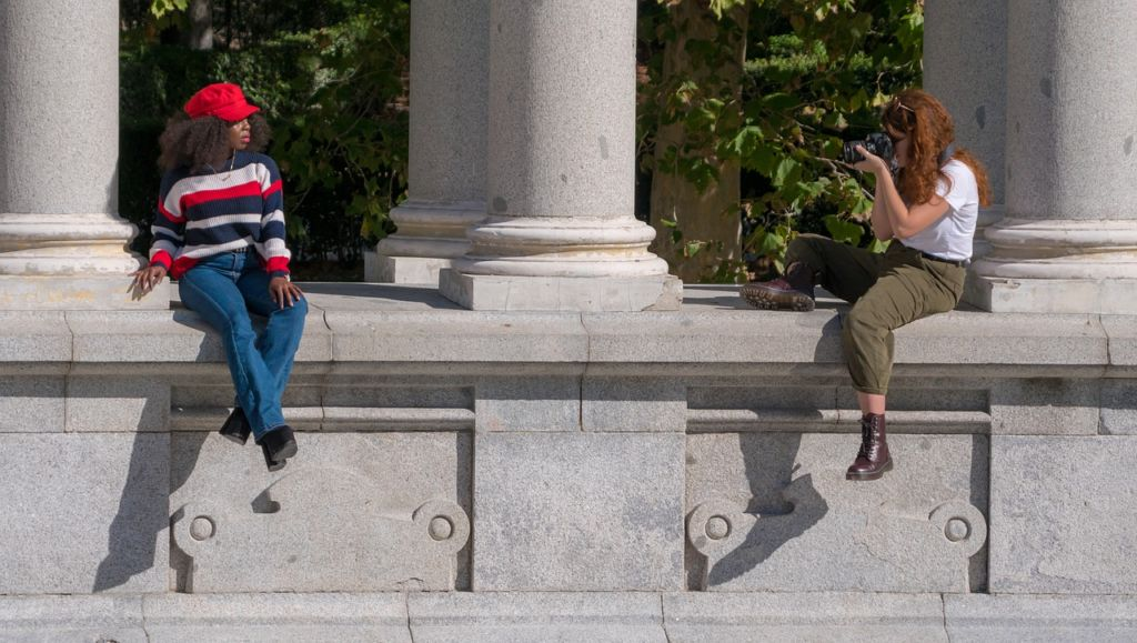 A model is a photo session outside as fachion is one of the biggest culture shocks people experience when moving from saudi Arabia to Europe.