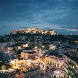 The night view of Athens