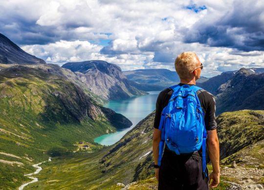 A boy on a mountain