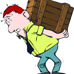 Man is trying to safely move furniture