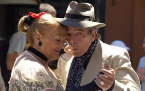 An older couple dancing