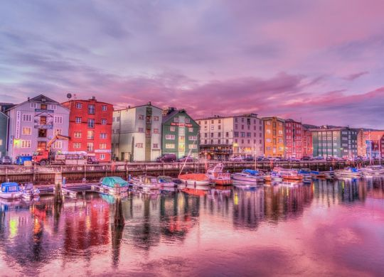 Colorful houses on the coast of Trondheim, Norway.