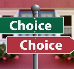Two road signs both saying choice because you have to decide where to move.