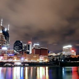 A view of a city in Tennessee by night.