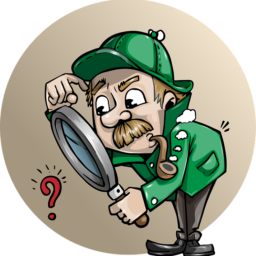 A detective looking through a magnifying glass.