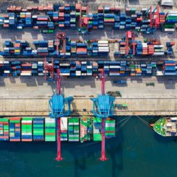 Bird-eye view of freight containers.