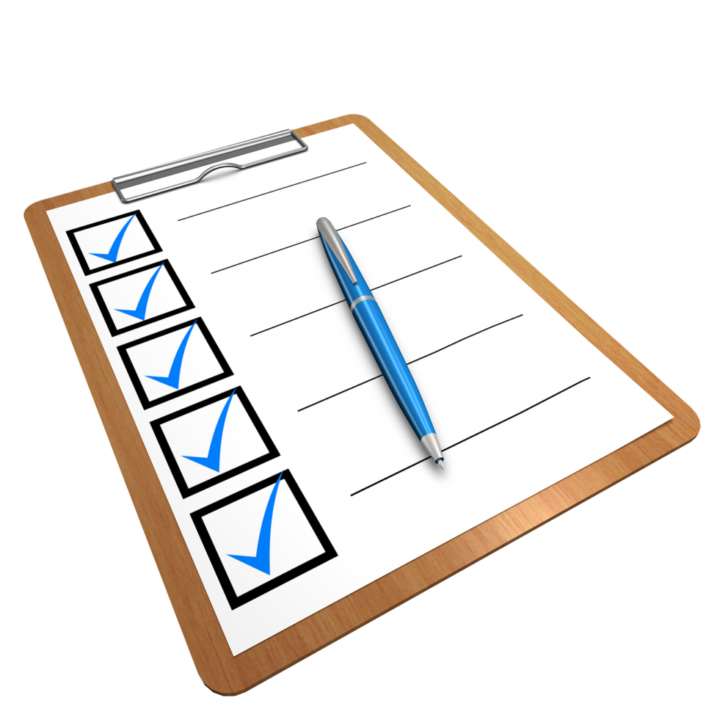 A checklist to write down a plan and make transporting your belongings from the States easier.