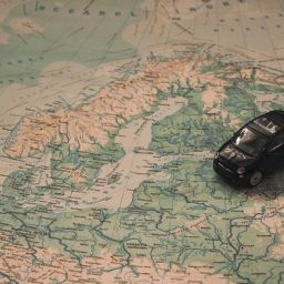 a car moving to europe map