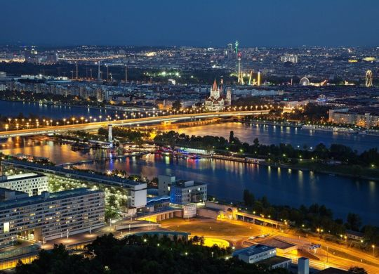 A view of Vienna by night.