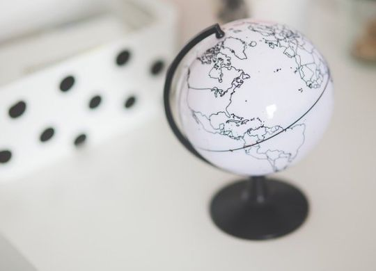 A small black and white globe.