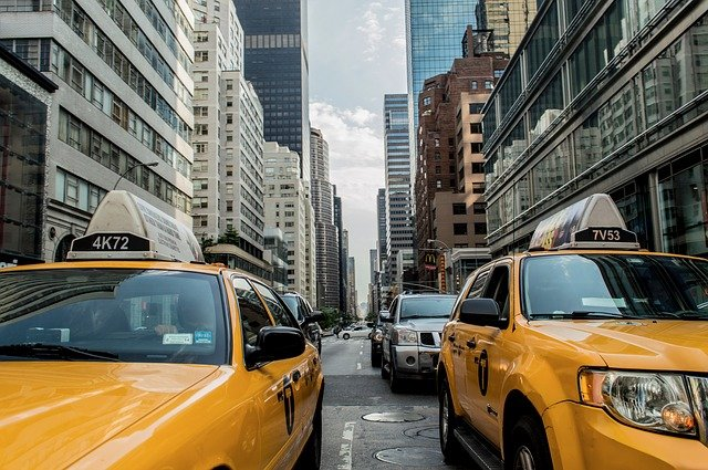 Taxis on the street of NYC.