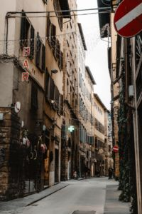 A narrow street in Florence.