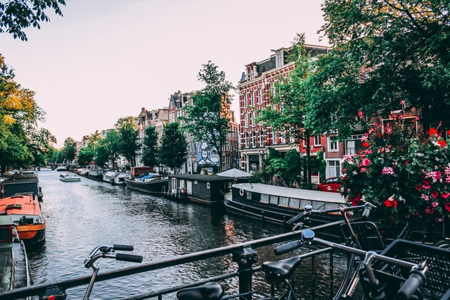 A cannala and street in Amsterdam