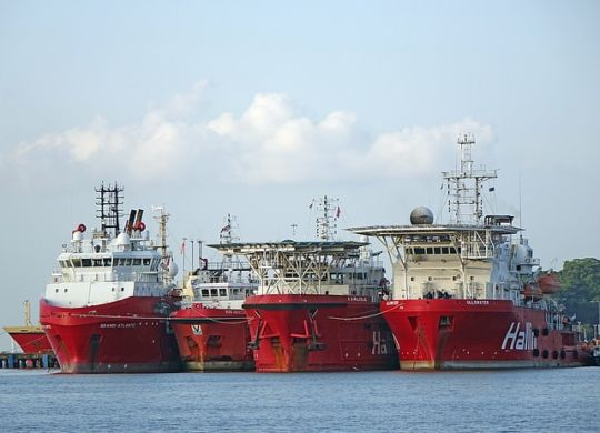 Shipping vessels.