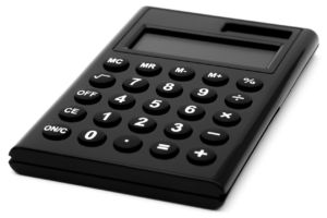 A black calculator you can use to set the costs  when you need to find a house in Europe.