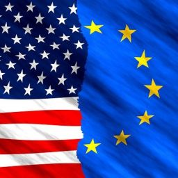 US and Europe flag symbolizing Ohio cities popular among Europeans..