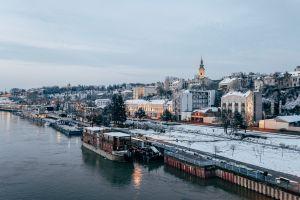 Winter panorama of Belgrade