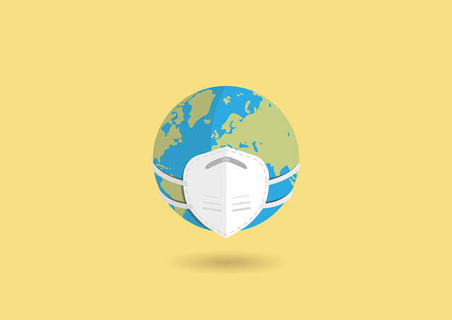 An image of a globe with face mask.