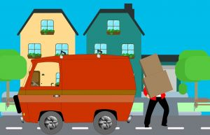 an illustration of a person loading a moving truck while moving to one of those places Californians feel at home.