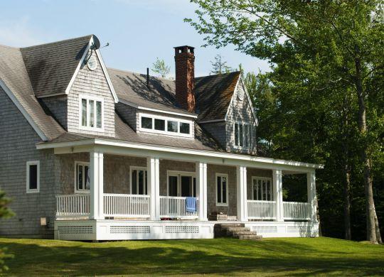 A gray suburban house.