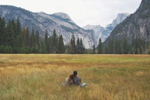Yosemite Valley with two people sitting in grass.