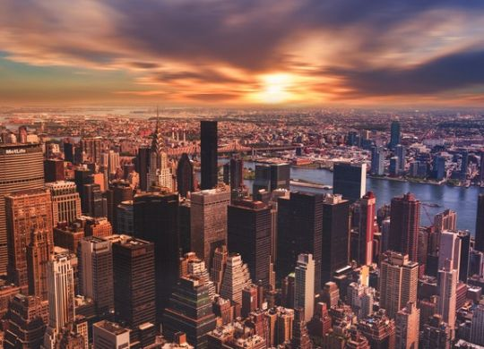 There is a skyline picture of New York City.